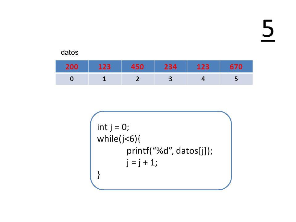 5 int j = 0; while(j<6){ printf( %d , datos[j]); j = j + 1; } 200